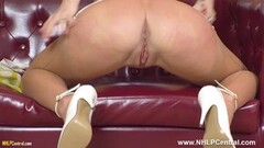Hot blonde fingers tight pussy in girdle and sexy nylons Thumb