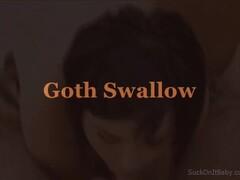 Goth Swallows Cum Thumb