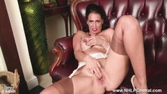 Sexy Milf masturbates in lingerie seamed nylons Thumb