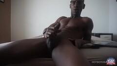 Ebony Boy River Wilson Stroking his BBC Thumb