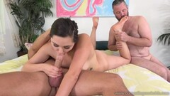 Squirting dyke babe tribbing busty MILF during threesome Thumb