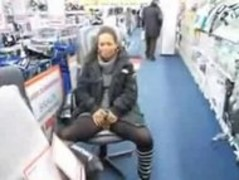 Cute milf pisses in the middle of a store Thumb