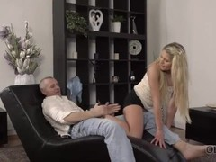 OLD4K. Bashful girl isnt against sex with older gentleman in bed Thumb