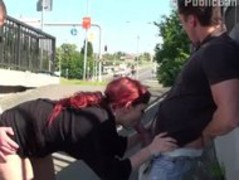 Public Threesome Sex By A Bus Stop AWESOME Thumb