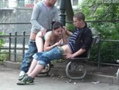 Public threesome sex on the street. AWESOME Thumb