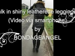 Walk in shiny leatherette leggings 3 Thumb