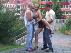Risky threesome on the street AWESOME Thumb