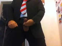 Me cumming in suit and tie, explosive cum shots Thumb