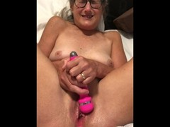 Dildo Play Legs Pussy Spread Wide 60 year old Milf Granny Glasses Thumb