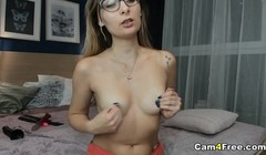 Pretty Hot Nerdy Babe Toys her Tight Pussy Thumb