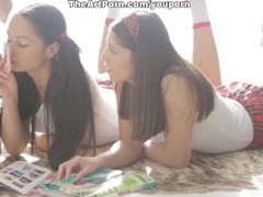 Cute schoolgirls Fantina and Betty in threesome orgy Thumb