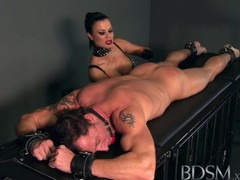 BDSM XXX Beautiful big breasted Mistress uses her subs cock as she pleases Thumb