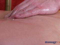 Massage Rooms Sexy Brunette Milf squirts before riding a big thick cock Thumb