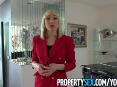 PropertySex - Agent wearing red blazer fornicates in mansion Thumb