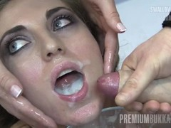 Premium Bukkake - Nona swallows 93 huge mouthful cum loads Thumb