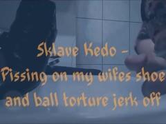 Danke Herrin ich darf pissen Slave Kedo allowed to piss on his mistress shoes Thumb
