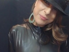 Smoking 120's in leather after putting on bright red lipstick AGENTSEXYHOT Thumb