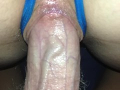 POV Wife in a crotchless thong rides and bounces sex stool creampie Thumb