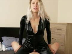 3 HUGE riding orgasms being choked from catsuit goddess! Thumb