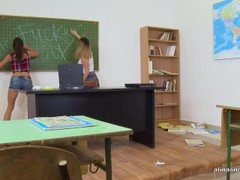 naughty schoolgirls are being punished in the classroom by hard assfuck Thumb