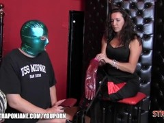 Strapon Jane dominates her love slave with new leather gloves and a hard ass fuck Thumb