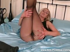 Horny blonde Sapphire Blue vigorously fucks her toy in seamless black nylon pantyhose Thumb