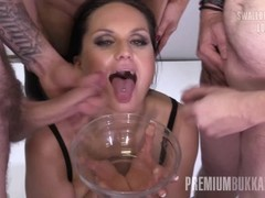 PremiumBukkake - Barbara Bieber swallows 48 big loads in gangbang bukkake Thumb
