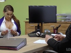 LOAN4K. Agent receives blowjob and titjob so gladly helps hot chick Thumb