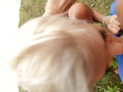 Public RIsky Anal Creampie near the beach with people Around Thumb