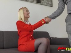 FakeFlightagent Blonde Beauty takes BBC Creampie Thumb
