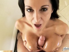 OILED UP FRENCH COUGAR AVA ADDAMS MILKING A COCK WITH HER BIG MILF TITS Thumb