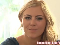 Hot blonde Teen Summer Day gives amazing Footjob at FuckedFeet! Thumb