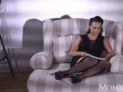 MOM Busty sexy French MILF in black stockings lingerie and high heels Thumb