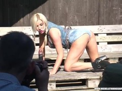 Busty blonde slut Michelle Thorne wanking with biggest fuck toy pissing and face sitting on fans day Thumb