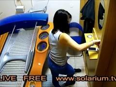 Hidden cam on Tanning Salon Hot Girl Masturbation on Solarium Thumb