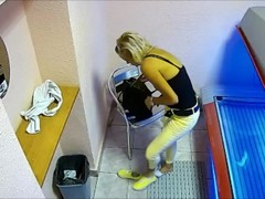 Real Public Solarium Cam Hot Blonde Girl playing Pussy Thumb