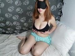 Thicci fingers herself in a cute thong and squeezes her huge tits Thumb