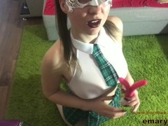 School girl in uniform plaid short skirt white lace stockings and pigtrails Thumb