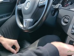 Creampied on the highway - public sex in a car Thumb