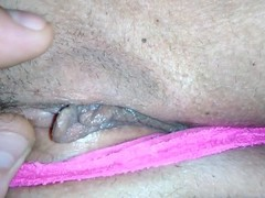 See My Big Ass & Hairy Pussy In Pink Panties Fingered, Fucked & Creampied Thumb