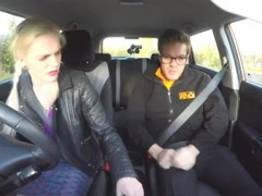 Fake Driving School Spunk covered pussy for busty British babe Alice Judge Thumb