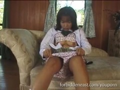 Young Japanese In Uniform Masturbates Hairy Wet Pussy Thumb