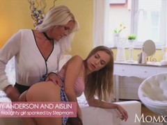 MOM Naughty little young girl spanked by busty blonde Stepmom MILF Thumb