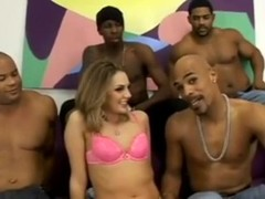 Blonde in Interracial Gangbang Thumb