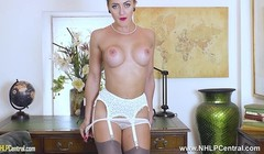 Bossy secretary masturbates on desk in stockings and garters Thumb