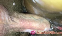 Tight Asian Teen Pussy From Below With Anal Fucking Thumb