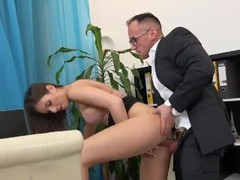 Crazy sexy secretary is making good to the boss Thumb