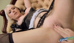 Horny blonde babe has hot lesbian sex with her pretty maid Thumb