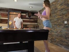 Naughty America Kenzie Madison plays strip pool with friend's brother Thumb