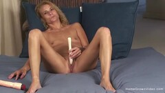 Flat chested blonde MILF masturbates with her vibrator Thumb